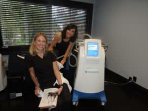 Denise Kaler with CoolSculpting device