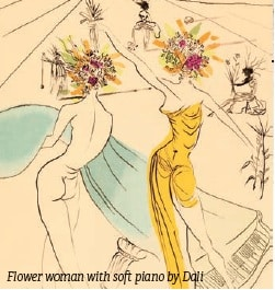 Flower woman with soft piano by Dali