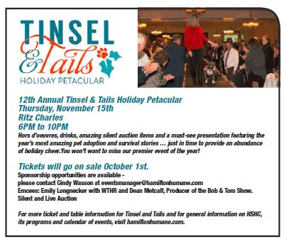 Help Raise the Roof at this Year's Tinsel and Tails Holiday Petacular