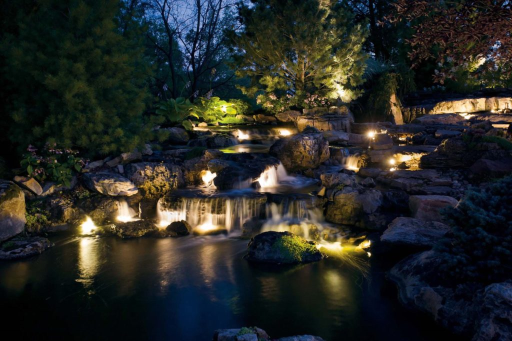 Landscape illumination waterfall outdoor lights