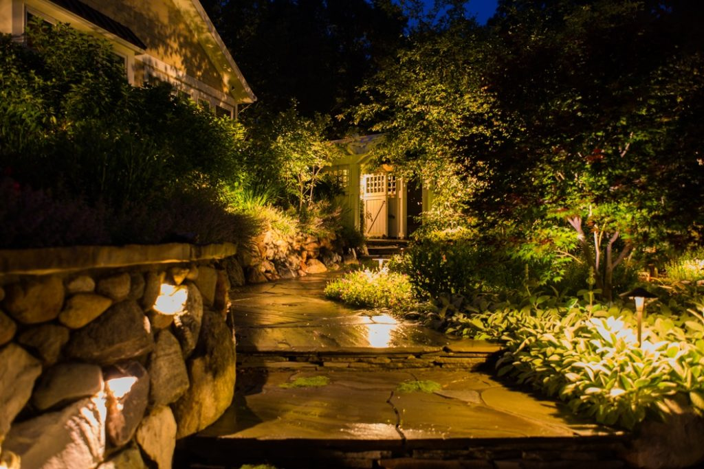 Landscape illumination waterfall paver pathway outdoor lights